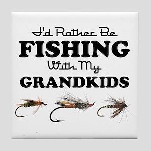 Rather Be Fishing Grandkids Tile Coaster