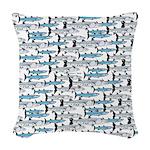School of Barracudas 1 Woven Throw Pillow