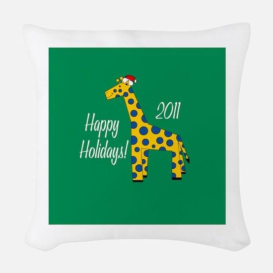 Giraffe Holiday Woven Throw Pillow