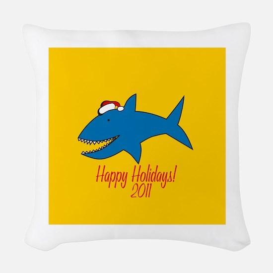 Shark Holiday Woven Throw Pillow