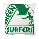 Green Surfers 10 Woven Throw Pillow