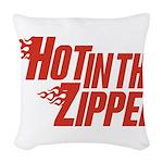 HotintheZipper10 Woven Throw Pillow