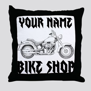 Custom Bike Shop Throw Pillow