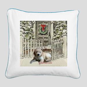 Goldendoodle Christmas Square Canvas Pillow