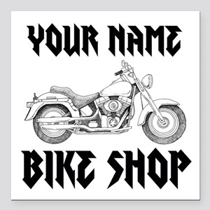 "Custom Bike Shop Square Car Magnet 3"" x 3"""