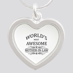 World's Most Awesome Mother-in-Law Silver Heart Ne