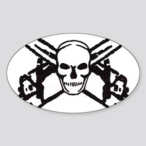 Skull and Chainsaws Oval Sticker