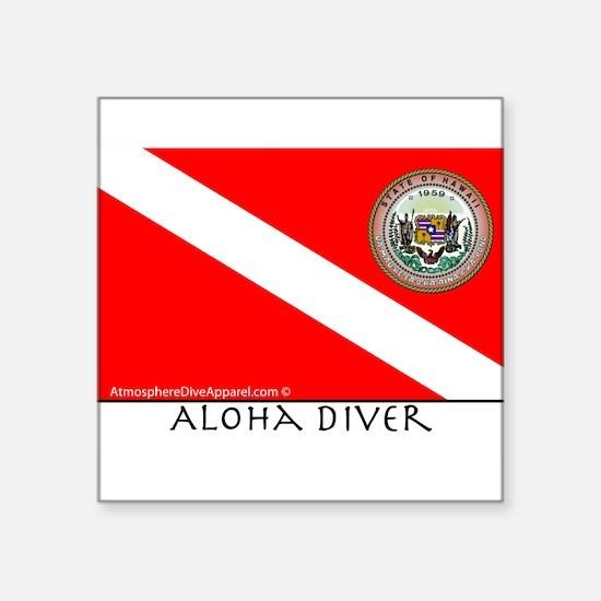 "Aloha Scuba Diver Down Flag Square Sticker 3"" x 3"""