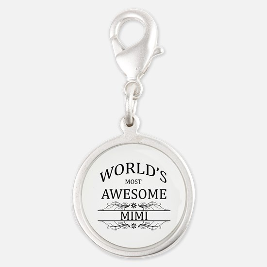 World's Most Awesome Mimi Silver Round Charm