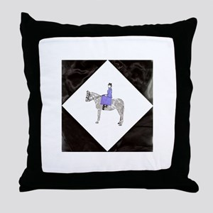 Hand Painted SideSaddle Rider Throw Pillow