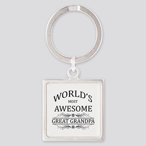 World's Most Awesome Great Grandpa Square Keychain