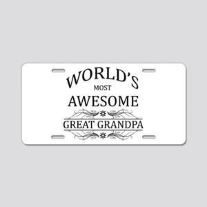 World's Most Awesome Great Grandpa Aluminum Licens
