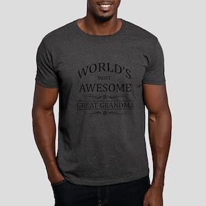 World's Most Awesome Great Grandma Dark T-Shirt