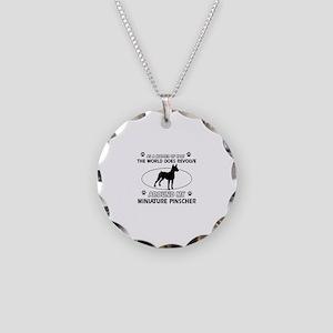 Miniature Pinscher Dog breed designs Necklace Circ