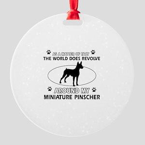 Miniature Pinscher Dog breed designs Round Ornamen