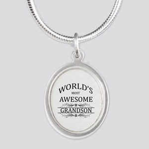 World's Most Awesome Grandson Silver Oval Necklace