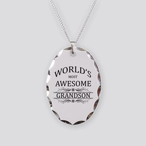 World's Most Awesome Grandson Necklace Oval Charm