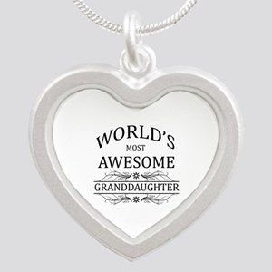 World's Most Awesome Granddaughter Silver Heart Ne