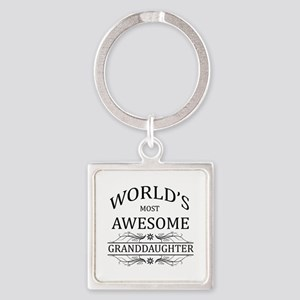 World's Most Awesome Granddaughter Square Keychain