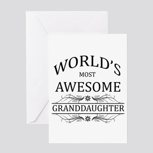 Worlds Most Awesome Granddaughter Greeting Card
