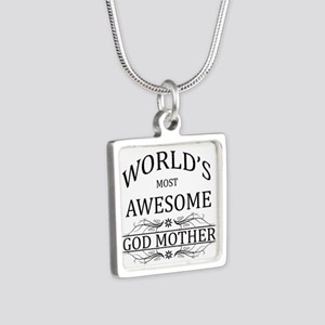 World's Most Awesome Godmother Silver Square Neckl