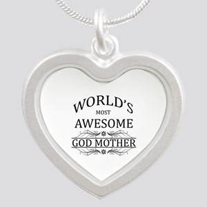 World's Most Awesome Godmother Silver Heart Neckla