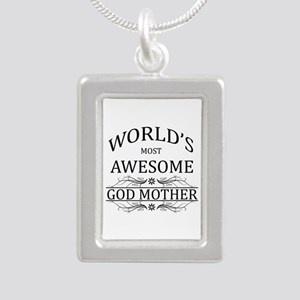World's Most Awesome Godmother Silver Portrait Nec