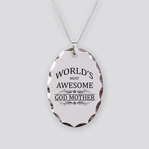 World's Most Awesome Godmother Necklace Oval Charm