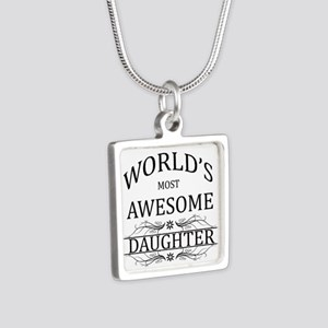 World's Most Awesome Daughter Silver Square Neckla