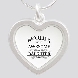World's Most Awesome Daughter Silver Heart Necklac