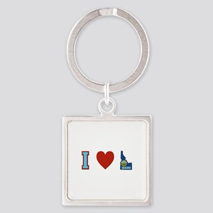 Peace Love Idaho Square Keychain