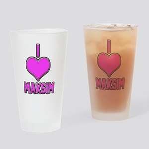I Heart Maksim (pink) Drinking Glass
