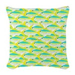 School of yellowtail snapper 1 Woven Throw Pillow