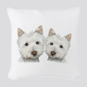 Two Cute West Highland White Dogs Woven Throw Pill