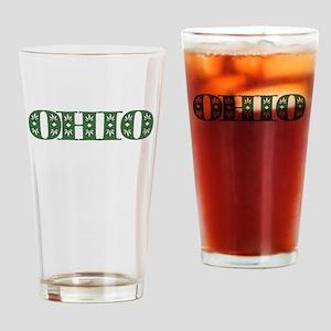 OHIO IN MARIJUANA FONT Drinking Glass