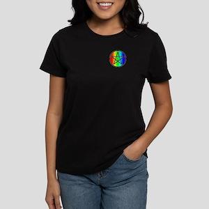 Women's Dark T-Shirt-Rainbow Pentacle Black