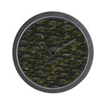 Black Bullhead catfish School Pattern f Wall Clock