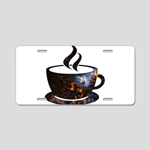 Cosmic Coffee Cup Aluminum License Plate