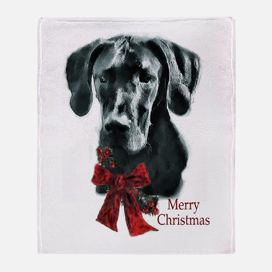Great Dane Christmas Throw Blanket
