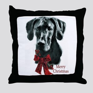 Great Dane Christmas Throw Pillow