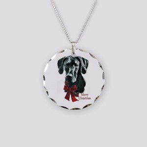 Great Dane Christmas Necklace Circle Charm