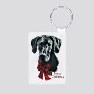 Great Dane Christmas Aluminum Photo Keychain