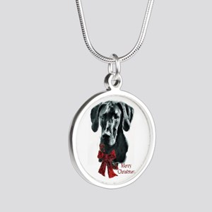 Great Dane Christmas Silver Round Necklace