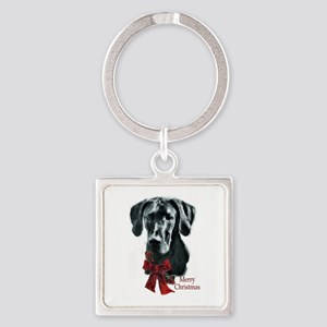 Great Dane Christmas Square Keychain