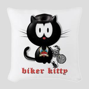 biker kitty Woven Throw Pillow