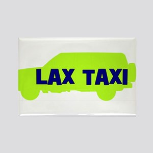 Lax Taxi Green Rectangle Magnet