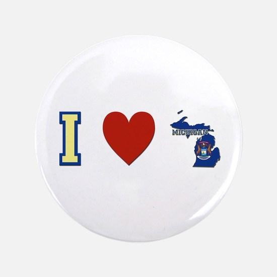 """I Love Michigan 3.5"""" Button"""