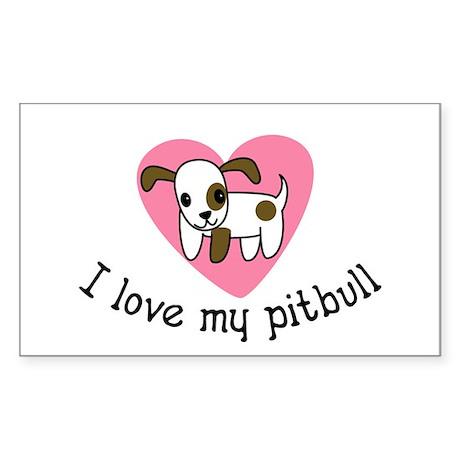 I Love My Pitbull Oval Sticker