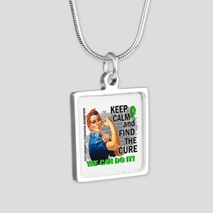Rosie Keep Calm NH Lymphoma Silver Square Necklace