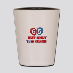 65 year old designs Shot Glass